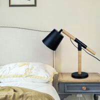 北欧风格实木卧室台灯 设计师简约田园桌灯按钮布艺书房护眼灯具 按钮开关