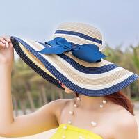 女士夏天防晒草帽可折叠沙滩帽大沿帽 遮阳帽 旅游太阳帽