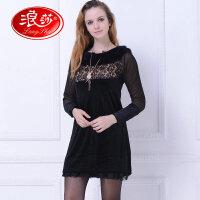 浪莎保暖外穿内搭衣 女士法国洛可可蕾丝上衣 时尚休闲韩版 保暖打底裙
