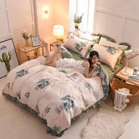 全棉四件套1.8m床单被套1.2m简约床上用品三件套网红
