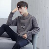 毛衣男圆领秋冬季韩版潮流青少年学生毛线衣个性日系修身针织衫男 ABB 920咖啡色