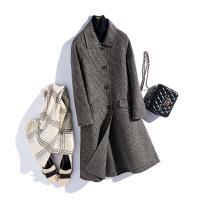 反季双面呢羊毛混纺大衣小毛呢外套女中长款韩版新款零羊绒呢大衣