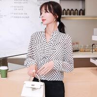 春装新款韩版宽松波点雪纺衬衫女设计感小众V领上衣9161#