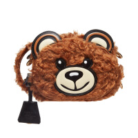 六一儿童节520Moschino/莫斯奇诺18秋冬新款棕色毛绒小熊可爱女包斜挎包单肩包 棕色