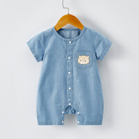 薄款外出服软牛仔婴儿衣服潮男女宝宝儿童夏装连体衣短袖哈衣