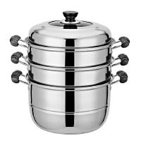 丽威 不锈钢复底三层多用蒸锅32CM 蒸煮锅 汤锅 可视组合盖 电磁炉煤气均可