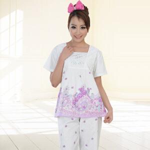 金丰田女士短袖睡衣套装 夏季纯棉蕾丝家居服五分裤全棉两件套1730