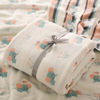日系云柔卡通六层婴儿浴巾棉宝宝纱布盖毯新生儿包被儿童毛巾被