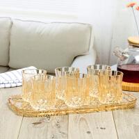 金色钻石刻花玻璃水杯套装带沥水盘无盖欧式家用喝水杯子茶色