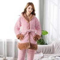 冬季女士可爱睡衣三层加厚保暖棉袄套装粉色连帽休闲家居服法兰绒