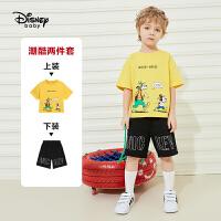 【2件2.4折:62.1元】迪士尼男童短袖中裤套装2021夏季新款洋气儿童针织两件套