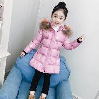 女童棉衣新款冬装韩版童装小女孩棉袄加厚中长款儿童洋气 粉色 110cm