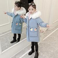 女童秋冬装外套2018新款棉袄中长款韩版洋气中大童加厚儿童棉衣潮