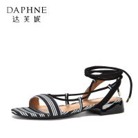 Daphne/达芙妮夏季新款系带低跟脚环绑带条纹民族风凉鞋女