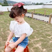 【119元4件】纽豆女宝宝纯色灯笼袖T恤小童洋气泡泡袖上衣夏装时尚儿童短袖娃娃衫