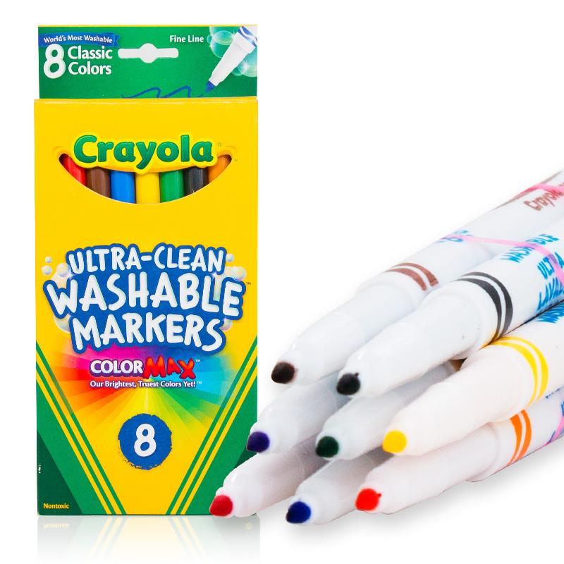 Crayola绘儿乐 58-7809 可水洗8色细头水彩笔(经典色) 当当自营