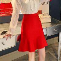 2018秋冬新款针织裙半身裙女大红色裙子包臀荷叶边鱼尾裙