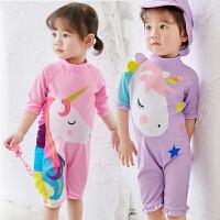 儿童泳衣女孩女童可爱裙式游泳衣宝宝婴儿连体小童公主比基尼