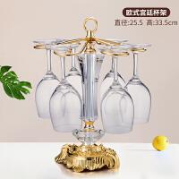 红酒杯架摆件悬挂酒柜欧式创意倒挂装饰品葡萄酒高脚杯吊杯6只装抖音