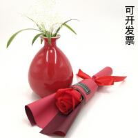 单支香皂玫瑰花康乃馨仿真花母亲节微商地堆公司活动小礼品肥皂花 精装红色玫瑰 单支价