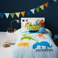 儿童房床上用品卡通全棉三件套全棉四件套 男孩单人恐龙床品套件定制