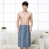 毛巾料男士可穿浴巾女性感抹胸浴裙竹纤维汗蒸裙 竹纤维-深灰 蓝 140x70cm