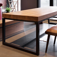 桌子简约现代美式家具实木书桌loft电脑台式桌家用写字简易办公桌