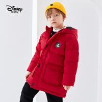 迪士尼男童中长款工装羽绒服秋冬新款童装帅气连帽儿童外套