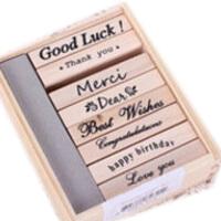 Angel Zimu韩国文具 精致木盒装英文祝福语印章 留言印章(8枚)