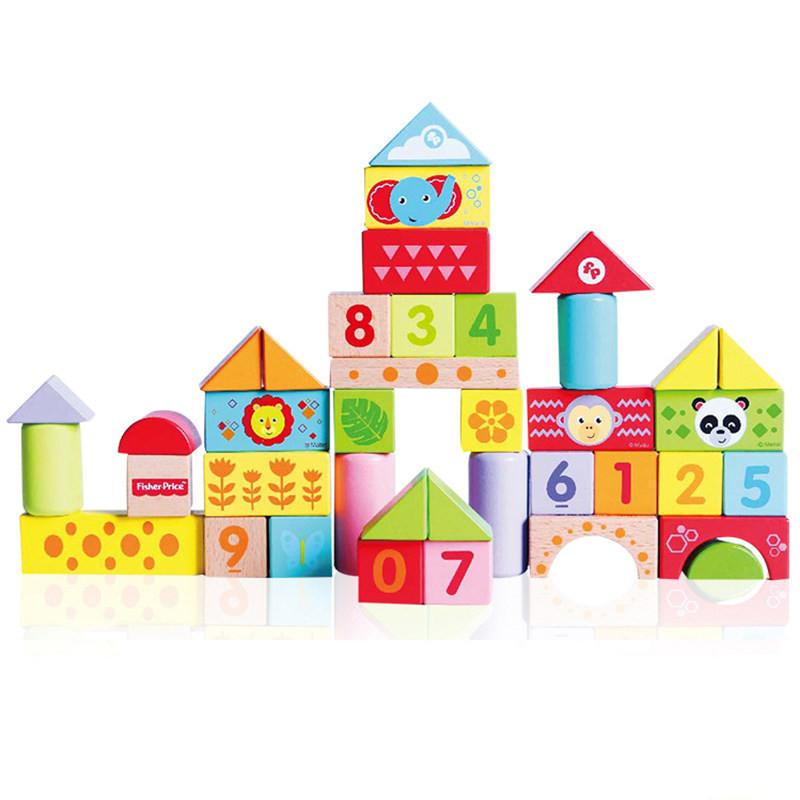 费雪(Fisher Price) 木制积木玩具儿童宝宝婴儿1-2周岁3-6岁男孩女孩智力拼装 新品40粒积木【送跳跳蛙和布艺收纳袋】