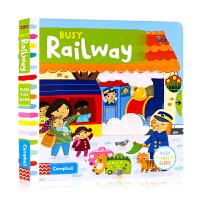 Busy系列Busy Railway忙碌的火车站 英文原版绘本 推拉滑动机关操作纸板书 儿童英语启蒙低幼趣味游戏玩具书早
