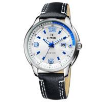 2017新款 EYKI艾奇 商务休闲石英男表 个性简约日历 全不锈钢表盘 潮流个性皮带手表 8649