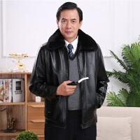 中老年外套 男士长袖翻领拉链加绒加厚爸爸装冬季新款韩版男式时尚休闲舒适百搭皮衣