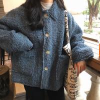 春季韩版女装复古chic皮毛一体仿羊羔毛外套宽松显瘦加厚毛毛开衫