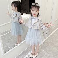 2019新款春装儿童连衣裙洋气女孩春秋装两件套裙童装女童套装