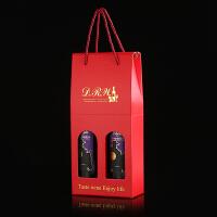 红酒盒礼盒包装盒纸盒葡萄酒盒单双支手提袋子洋酒通用礼品红酒收纳袋 红色 标酒瓶双