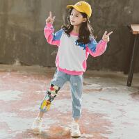 小女孩洋气童装女童套装2019秋季新款韩版卫衣牛仔裤两件套