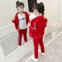 2019春秋季新款韩版儿童时髦洋气中大童运动三件套女童秋装套装