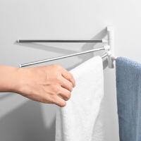 多功能旋转毛巾架卫生间免打孔创意置物架304不锈钢浴室毛巾杆