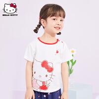 hellokitty女童短袖T恤2021夏季新款半袖体恤宝宝儿童装洋气上衣