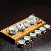 中式汝窑 小型功夫茶具套装 6只装杯子泡喝茶盘 台办公室客厅工家用 20件玉质套装
