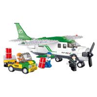小鲁班  益智积木拼插玩具 拼装玩具 拼插模型航空天地飞机系列 小型运输机B0362