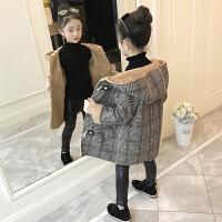 中大童加厚加绒毛呢大衣2019新款韩版洋气外套女童呢子大衣