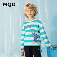 MQD男童长袖T恤纯棉2020春季新款中大儿童宽松运动上衣条纹体恤