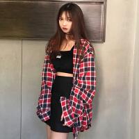 三木子快时尚女装~韩版宽松复古格子衬衣学生休闲衬衫上衣外套潮