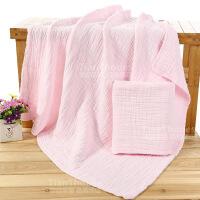 婴儿浴巾纯棉纱布浴巾婴儿浴巾全棉宝宝新生儿童盖毯毛巾被超柔加厚吸水 110x110cm
