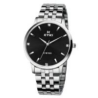 2018新款 EYKI艾奇 简约表盘 超薄时尚钢带水钻表 情侣表之男表 黑色 8585
