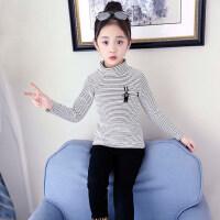 女童加绒打底衫秋冬2018新款洋气童装高领加厚条纹保暖儿童上衣冬