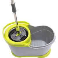 FaSoLa 旋转拖把 免手洗家用懒人拖布神器带桶省力甩干水拖把家务 灰色 1个 塑料篮 加强杆+塑料盘