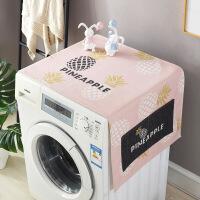棉麻滚筒洗衣机盖巾床头柜盖布单开门冰箱罩微波炉布艺遮盖防尘布